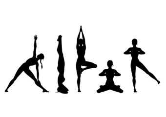 Yoga silhouette set