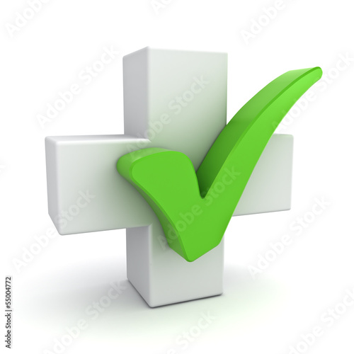 White plus sign with green check mark concept on white