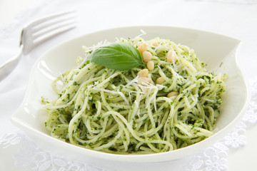 Spaghetti with pesto sauce.