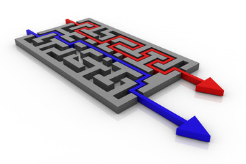 Maze with red and blue arrows. Long and short ways.