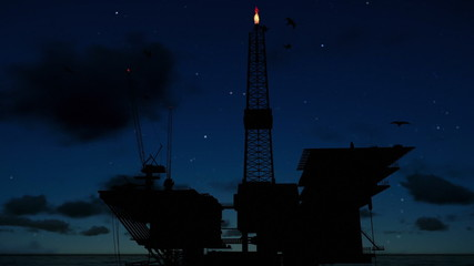 Oil Rig in ocean, close up, timelapse night to day