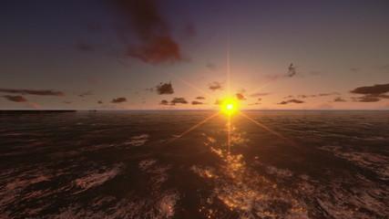 Oil Rig in ocean, flight across, timelapse sunrise
