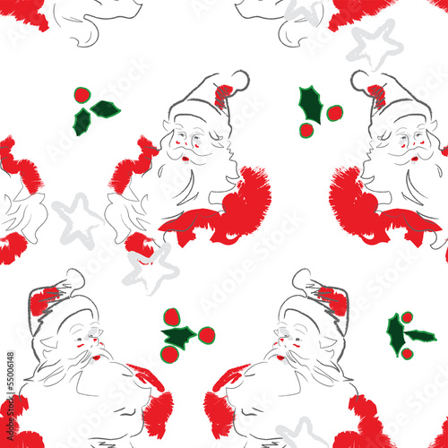 Cheerful Santa Seamless Pattern