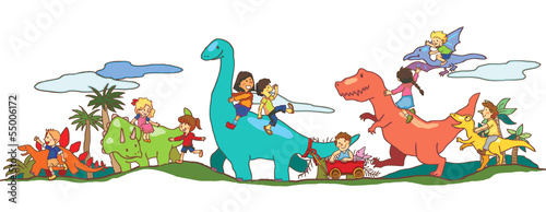 Children play with Dinosaurs in Dinoworld of imagination