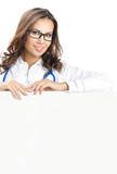 Doctor showing blank signboard, isolated