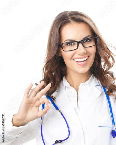 Doctor showing okay sign, isolated