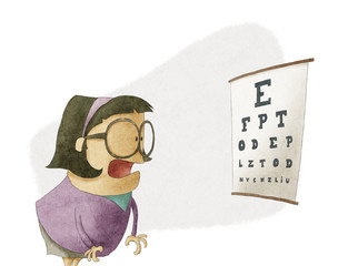 Woman trying to see letters on a eyesight test chart