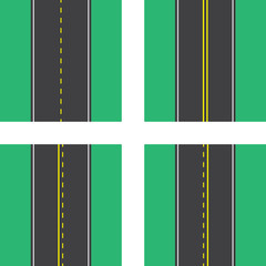 Roads with double and dotted lines top view