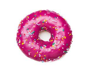 tasty purple donut, isolated on white