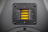 yellow tweeter - high-frequency loudspeaker, closeup poster