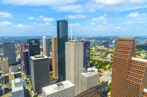 Aluminium Texas aerial of modern buildings in downtown Houston