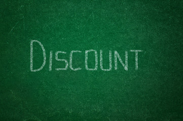 Discount on green chalkboard