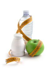 yogurt, apple and water
