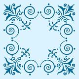 Ornate vintage filigree frame blue poster