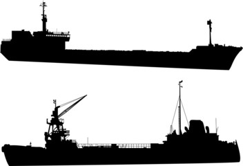 two commercial ships illustration