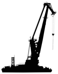 large nautical crane isolated on white