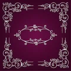 Ornamental white rectangular border frame
