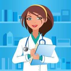 Cute woman pharmacist with clipboard