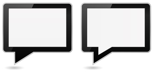 tablet pc computer with speech bubble shape