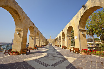 Upper Barrakka Gardens in Valletta, Malta.