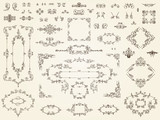 Collection of filigree ornament elements poster