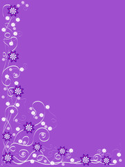 purple background with purple and white flowers