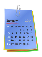 Calendar for january 2014 on colorful sticky notes attached with