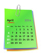 Calendar for april 2014 on colorful sticky notes attached with m