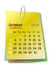 Calendar for october 2014 on colorful sticky notes attached with