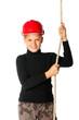 boy builder in helmet holding a rope