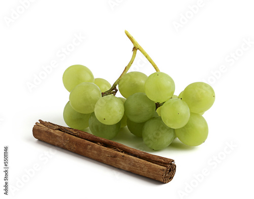 Fresh grapes and cinnamon stick