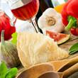Italian food - Parmesan cheese and wine
