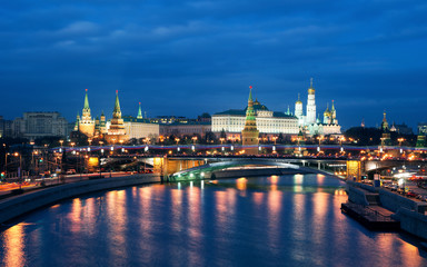 View of Moscow Kremlin at night