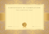 Certificate / Diploma template, background. Frame, pattern