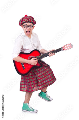 Funny scotsman with guitar on white