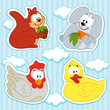 icon set animal vector  squirrel, hare, chicken, duck,