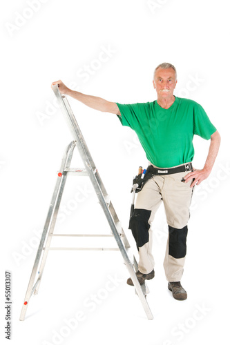 Manual worker with stepladder
