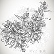 Floral monochrome seamless background with blooming flowers