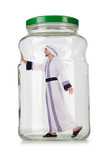 Arab businessman in glass jar