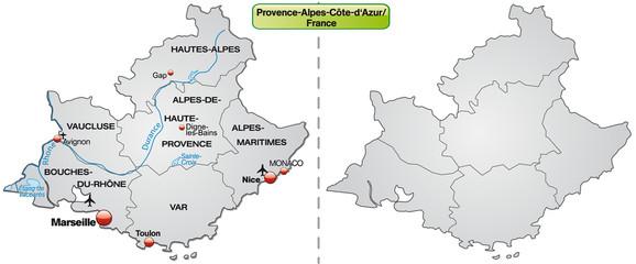 Inselkarte von Provence-Alpes-Côte d´Azur mit Grenzen in Grau