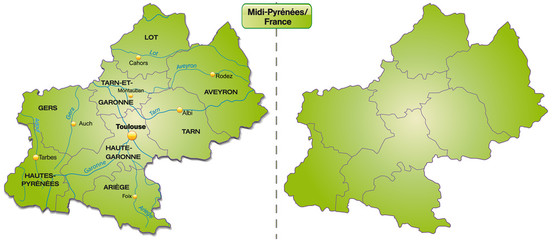 Inselkarte von Midi-Pyrénées mit Grenzen in Grün