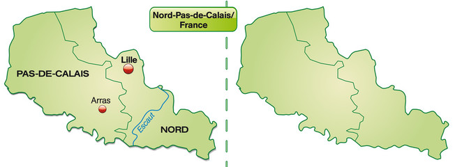 Inselkarte von Nord-Pas-de-Calais mit Grenzen in Pastelgrün