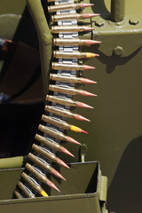 Chain of cartridges in military vehicle