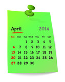 Calendar for april 2014 on green sticky note attached with green