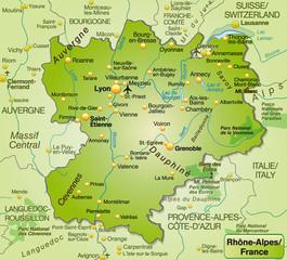 Umgebungskarte von Rhrône-Alpes als Übersichtskarte in Grün