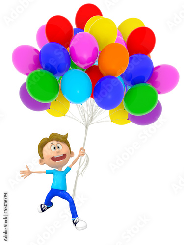 3D boy with balloons