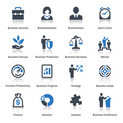 Business Icons Set 1 - Blue Series