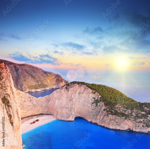 Panorama of Zakynthos island, Greece with a shipwreck onPanorami