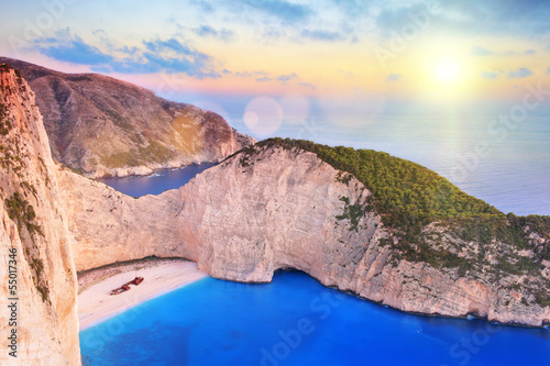 View of Zakynthos island, Greece with a shipwreck on a beach