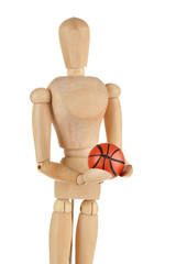 Wooden mannequin with basketball ball isolated on white